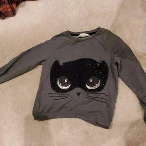 H&M Gray cat long sleeve sz. 6-8 y